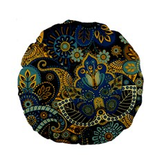 Retro Ethnic Background Pattern Vector Standard 15  Premium Round Cushions