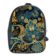Retro Ethnic Background Pattern Vector School Bags (XL)