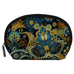 Retro Ethnic Background Pattern Vector Accessory Pouches (large)