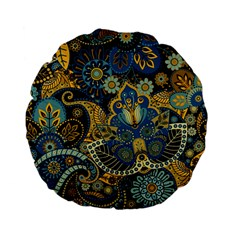 Retro Ethnic Background Pattern Vector Standard 15  Premium Flano Round Cushions