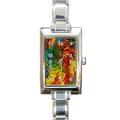 Stained Glass Patterns Colorful Rectangle Italian Charm Watch