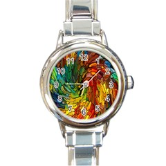 Stained Glass Patterns Colorful Round Italian Charm Watch
