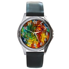 Stained Glass Patterns Colorful Round Metal Watch