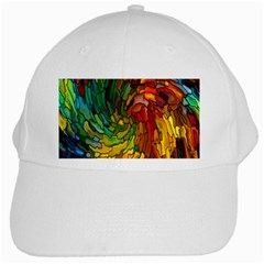 Stained Glass Patterns Colorful White Cap