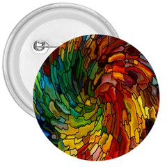 Stained Glass Patterns Colorful 3  Buttons