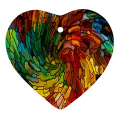 Stained Glass Patterns Colorful Ornament (heart)