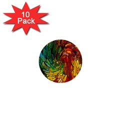 Stained Glass Patterns Colorful 1  Mini Buttons (10 pack)