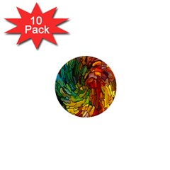 Stained Glass Patterns Colorful 1  Mini Magnet (10 Pack)