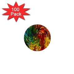 Stained Glass Patterns Colorful 1  Mini Magnets (100 Pack)