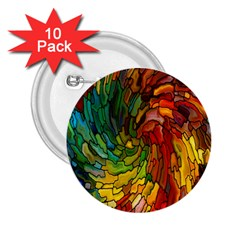 Stained Glass Patterns Colorful 2 25  Buttons (10 Pack)