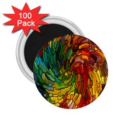 Stained Glass Patterns Colorful 2 25  Magnets (100 Pack)