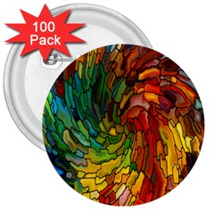 Stained Glass Patterns Colorful 3  Buttons (100 Pack)