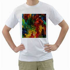 Stained Glass Patterns Colorful Men s T Shirt (white) (two Sided)