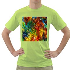 Stained Glass Patterns Colorful Green T Shirt