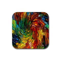 Stained Glass Patterns Colorful Rubber Coaster (square)