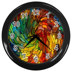 Stained Glass Patterns Colorful Wall Clocks (black)