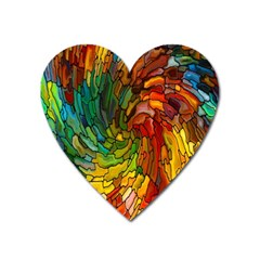 Stained Glass Patterns Colorful Heart Magnet