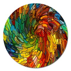 Stained Glass Patterns Colorful Magnet 5  (Round)