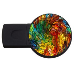 Stained Glass Patterns Colorful Usb Flash Drive Round (2 Gb)