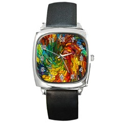 Stained Glass Patterns Colorful Square Metal Watch