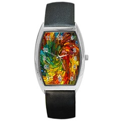 Stained Glass Patterns Colorful Barrel Style Metal Watch