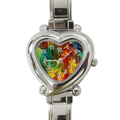 Stained Glass Patterns Colorful Heart Italian Charm Watch