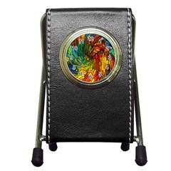 Stained Glass Patterns Colorful Pen Holder Desk Clocks