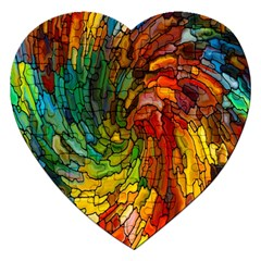 Stained Glass Patterns Colorful Jigsaw Puzzle (Heart)