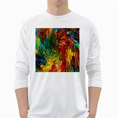 Stained Glass Patterns Colorful White Long Sleeve T Shirts