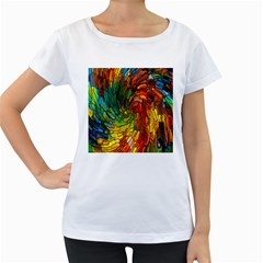 Stained Glass Patterns Colorful Women s Loose Fit T Shirt (white)