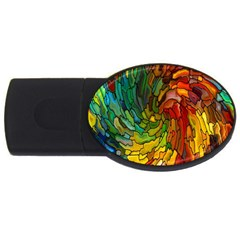 Stained Glass Patterns Colorful Usb Flash Drive Oval (4 Gb)