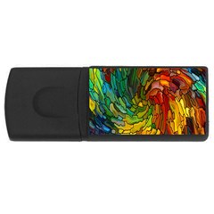Stained Glass Patterns Colorful USB Flash Drive Rectangular (4 GB)