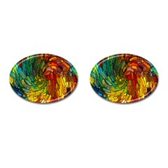 Stained Glass Patterns Colorful Cufflinks (Oval)