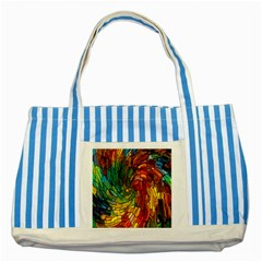 Stained Glass Patterns Colorful Striped Blue Tote Bag