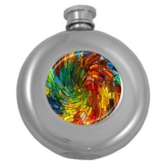 Stained Glass Patterns Colorful Round Hip Flask (5 Oz)