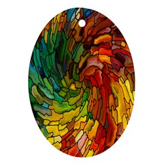 Stained Glass Patterns Colorful Oval Ornament (two Sides)
