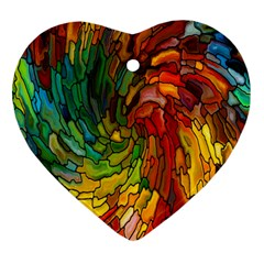 Stained Glass Patterns Colorful Heart Ornament (two Sides)