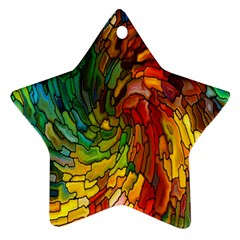Stained Glass Patterns Colorful Star Ornament (two Sides)