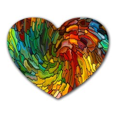 Stained Glass Patterns Colorful Heart Mousepads