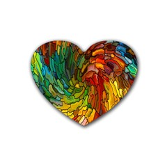 Stained Glass Patterns Colorful Heart Coaster (4 pack)