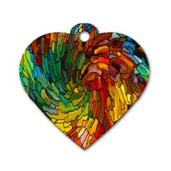 Stained Glass Patterns Colorful Dog Tag Heart (One Side)