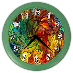 Stained Glass Patterns Colorful Color Wall Clocks