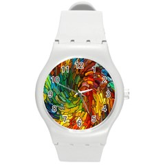 Stained Glass Patterns Colorful Round Plastic Sport Watch (m)