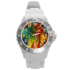 Stained Glass Patterns Colorful Round Plastic Sport Watch (l)