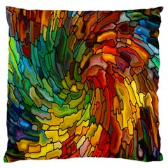 Stained Glass Patterns Colorful Large Cushion Case (two Sides)