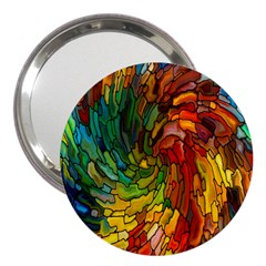 Stained Glass Patterns Colorful 3  Handbag Mirrors