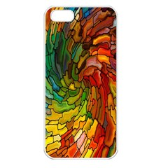 Stained Glass Patterns Colorful Apple Iphone 5 Seamless Case (white)