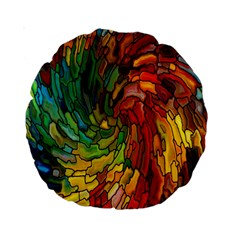 Stained Glass Patterns Colorful Standard 15  Premium Round Cushions