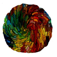 Stained Glass Patterns Colorful Large 18  Premium Round Cushions