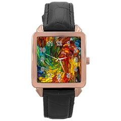 Stained Glass Patterns Colorful Rose Gold Leather Watch